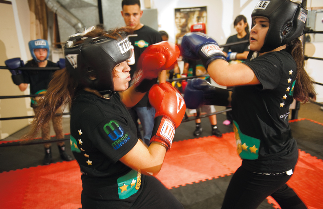 Girls boxing at Champion Boxing gym