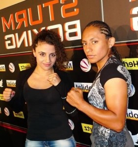 Carina Moreno and Susi Kentikian during press conference in Germany July 1st, 2013 - Photo courtesy of Mario Serrano