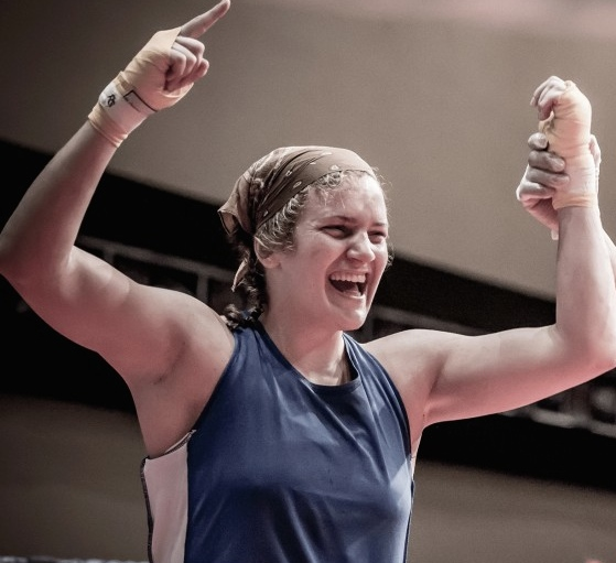 Ariane Fortin (75kg) after winning the National Championship in Regina, Canada, Oct, 2013. Photo Peter Scoular for Boxing Canada