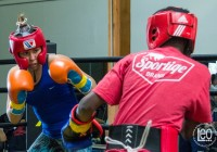 Marlen Esparza sparring previous to her second pro-fight. San Carlos, CA, April 29. Photo Arte Clandestino -Leo Ceballos.